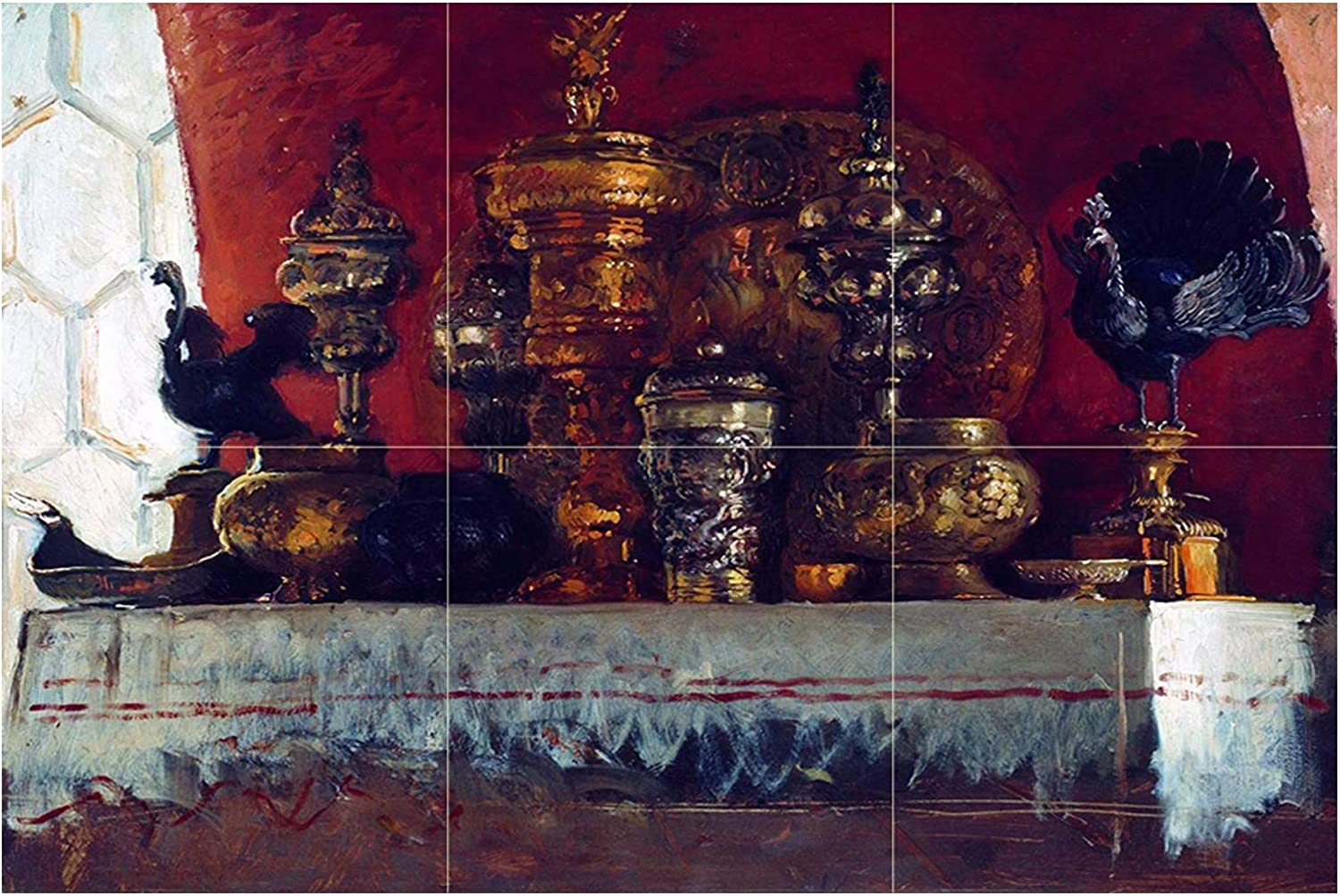 - Tile Mural Still Life Of Gold And Silver Cups By Konstantin