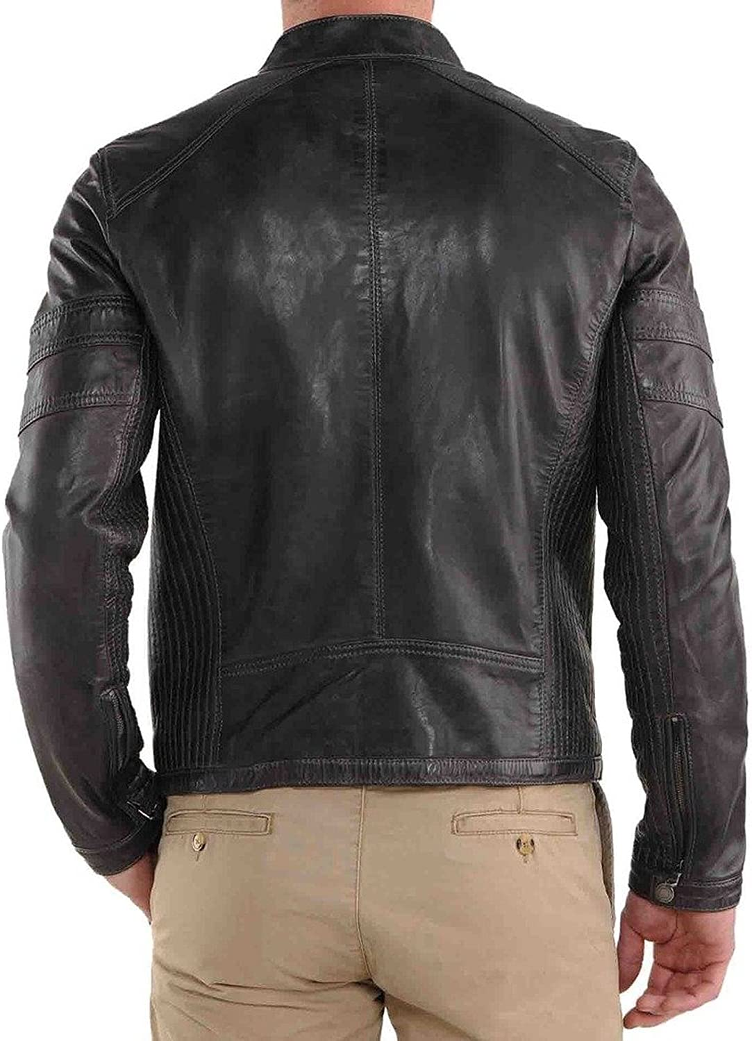Kingdom Leather New Mens Genuine Cow Leather Slim Fit Biker Motorcycle Jacket for Men XC486
