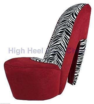 Full Size Red U0026 Zebra High Heel Shoe Chair Diva Shoechair Furniture RZ HHSC