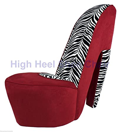 Full Size Red U0026 Zebra High Heel Shoe Chair Diva Shoechair Furniture RZ HHSC