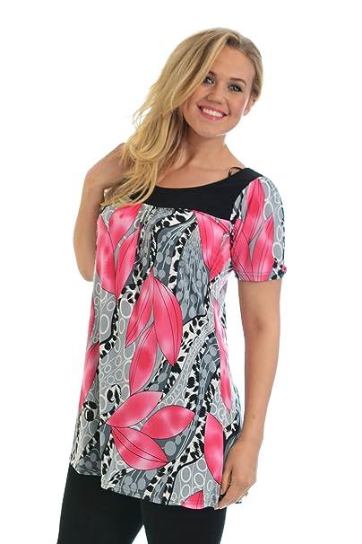 Nouvelle - Talla grande blusa de mujer con estampado de hojas, tallas 54-56