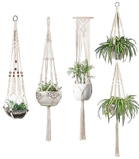 Amazon Com Mkono Macrame Plant Hangers Set Of 4 Indoor Wall Hanging