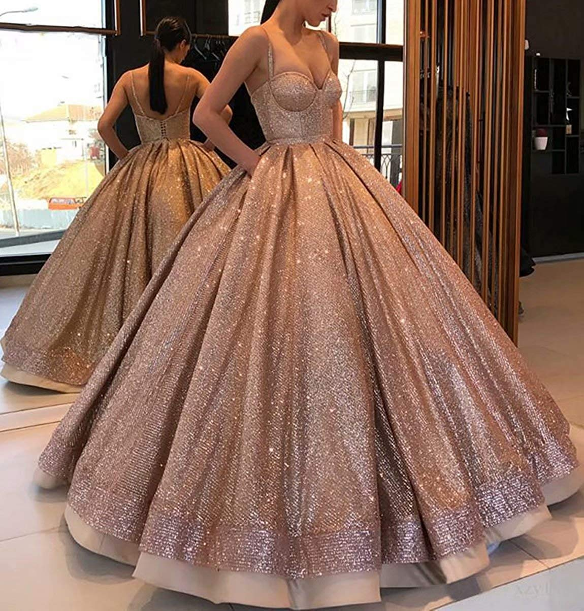 Mauwey Women S Sparkly Long Prom Quinceanera Dresses Spaghetti Strap Evening Party Ball Gowns Wedding Dress Black,Beach Dresses For Weddings Mother Of The Bride