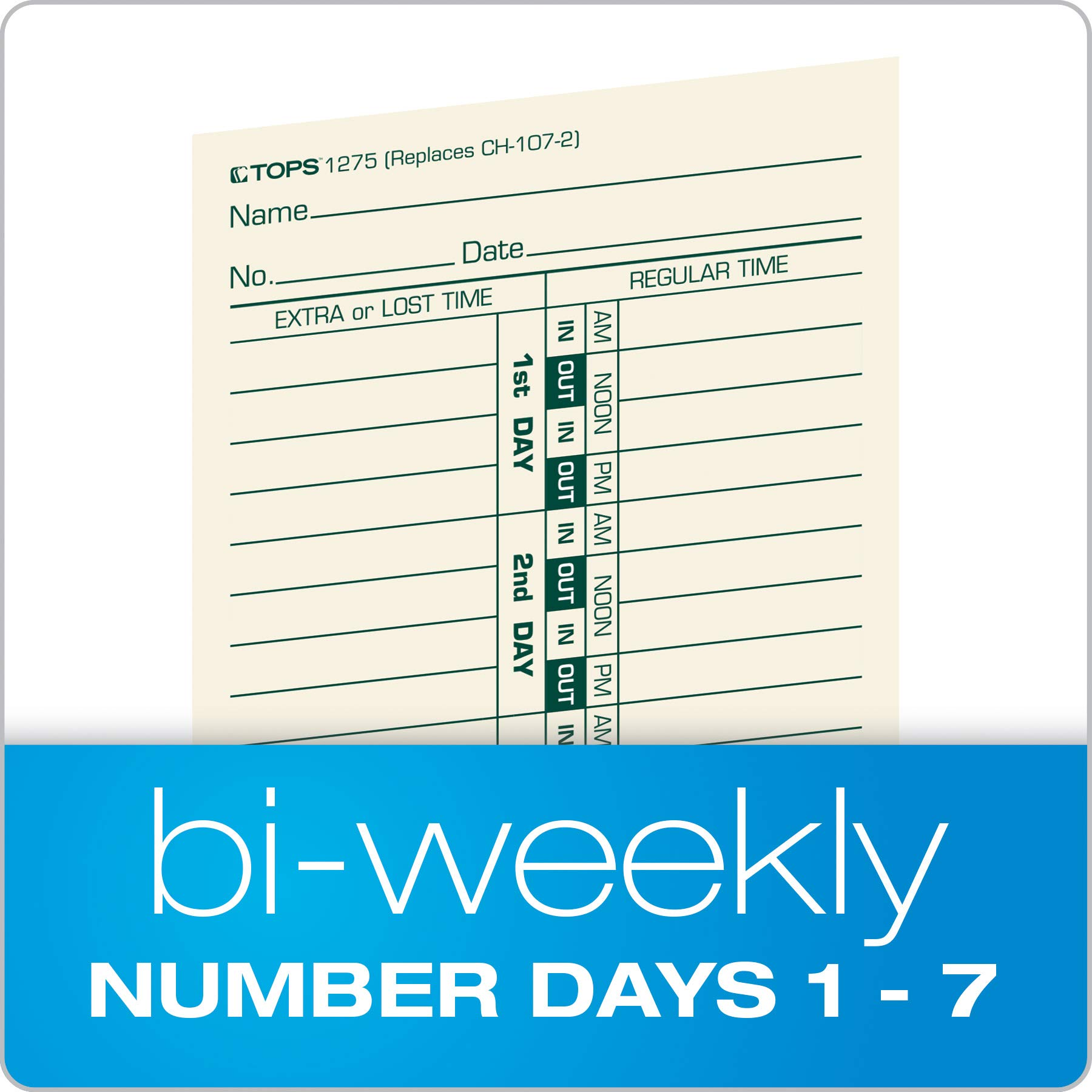 TOPS Time Cards, Bi-Weekly, 2-Sided, Numbered Days, 3-1/2'' x 9'', Manila, Green/Red Print, 500-Count (1275) by Tops (Image #2)