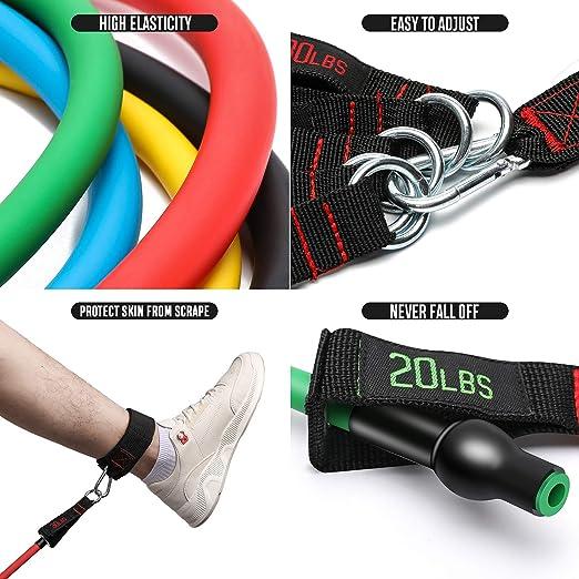 gimnasio en casa fisioterapia 4 manijas de espuma hasta 100 lb Bandas de entrenamiento de estiramiento f/ísico con 5 tubos de entrenamiento gimnasio Conjunto de bandas de resistencia FitBeast