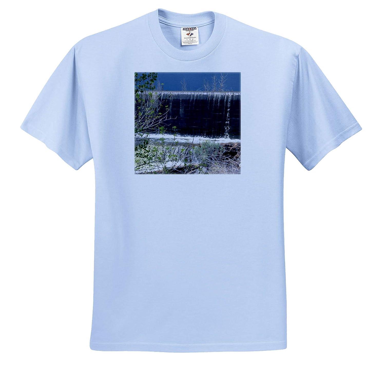 3dRose Jos Fauxtographee- Spillway Baker Dam Adult T-Shirt XL ts/_320045 The Water Going Over The Dam at Baker