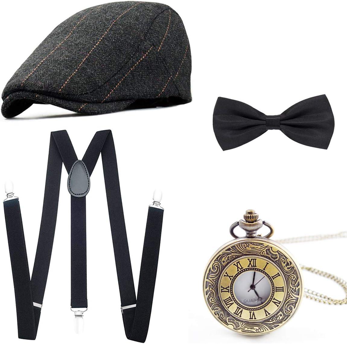 Wagoog Accesorios para Hombre de la década de 1920, Conjunto de Traje mafioso Gatsby Que Incluye Gorro de Panamá, Correas elásticas Ajustables, Corbata de Nudo para Hombre y Reloj de Bolsillo Vintage