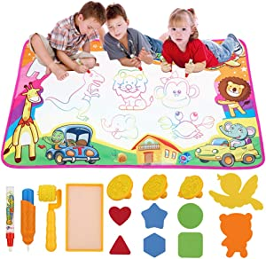 dmsbuy Baby Toy Education Learning Mat Free Painting Writing Doodle Board Toys , Aqua Magic Drawing Mat Just Need Water , Unlimited Reuse! Gift for 1 2 3 4 5 6 Year Old Girls Boys!