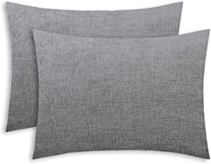 CaliTime Pack of 2 Cozy Standard Pillow Shams Cases for Bed Bedding Decoration Solid Dyed Soft Chenille 20 X 26 Inches Medium Grey