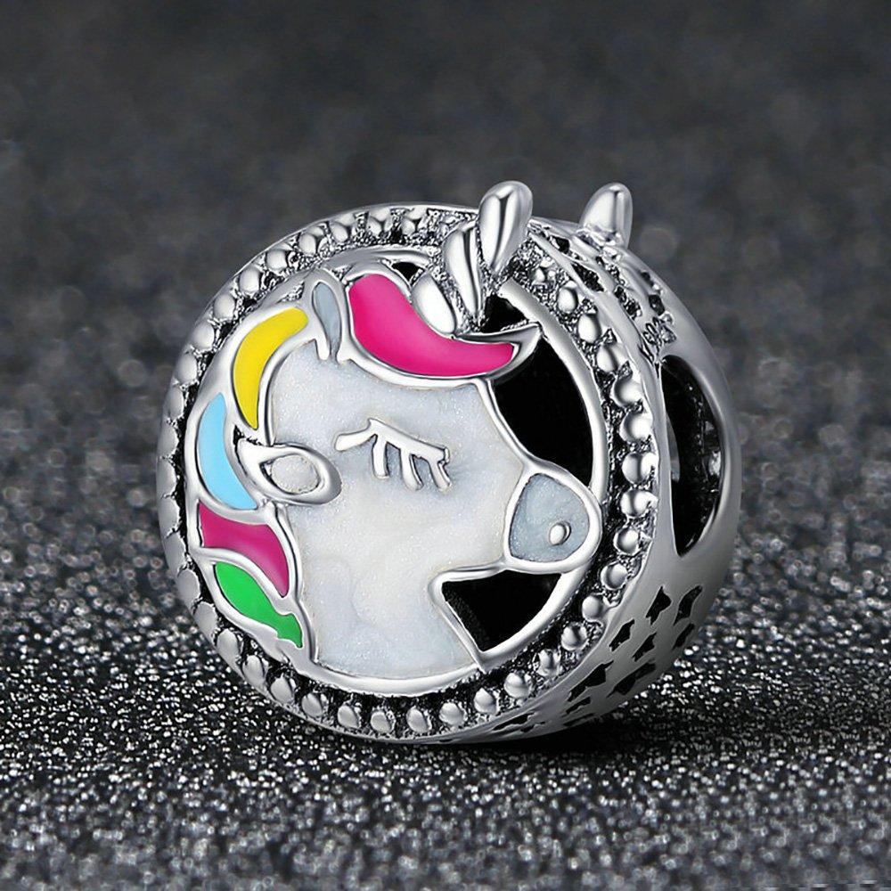 Forever Queen Unicorn Charm for Pandora Charm Bracelet, Round Shape Genuine 925 Sterling Silver Colorful Enamel Bead for Pandora European Bracelets BJ09002 by Forever Queen (Image #2)