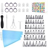 Kasmoire 70 Pcs Cake Decorating Supplies Tips kit-48 Numbered Piping Tips & 6 Reusable Pastry bag with Pattern Chart & EBook-