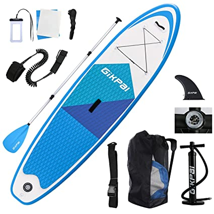 Gikpal Paddle Board, Inflatable Paddle Boards Stand Up Paddle Boards 10 Stable Inflatable SUP Paddle Board, 15.76lbs Ultra-Light Portable Stand Up ...