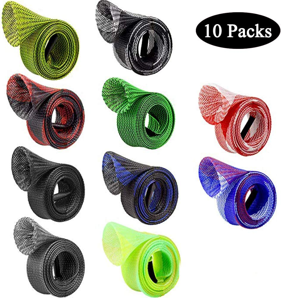 10 Pieces Rod Sock Fishing Sleeve Rod Cover Braided Mesh Protector Pole Gloves