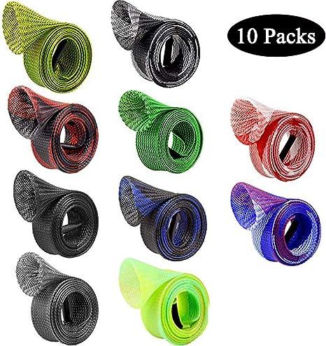 10 Pack Fishing Rod Sleeve, Braided Mesh Rod Protector