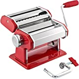 bremermann® Pasta Machine, stainless steel/metal red - for spaghetti, pasta and lasagna (7 levels), pasta machine, pasta maker
