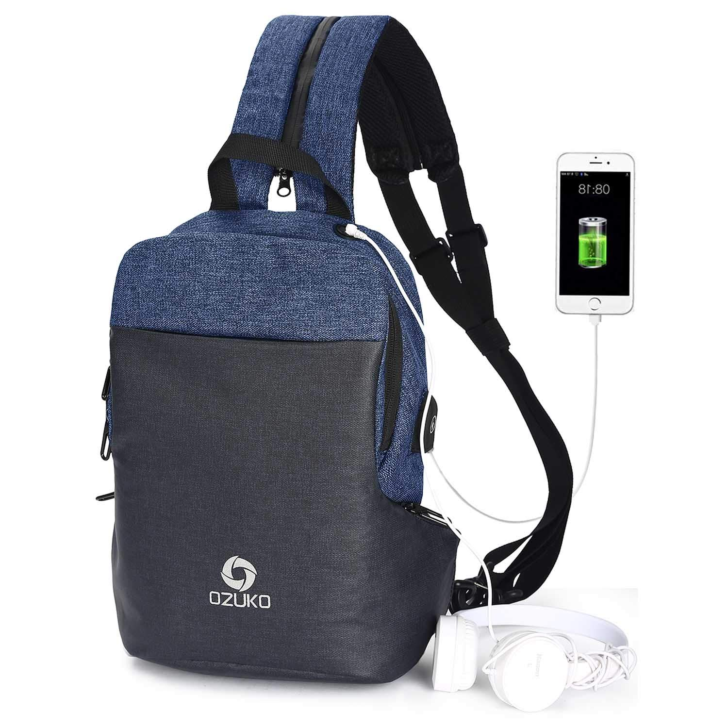6c180395290d Amazon.com   LEAGESU Sling Backpack Double Shoulder Strap Daypack Crossbody  Chest Bag Triangle Rucksack for Outdoor Hiking Casual (Blue)   Sports    Outdoors