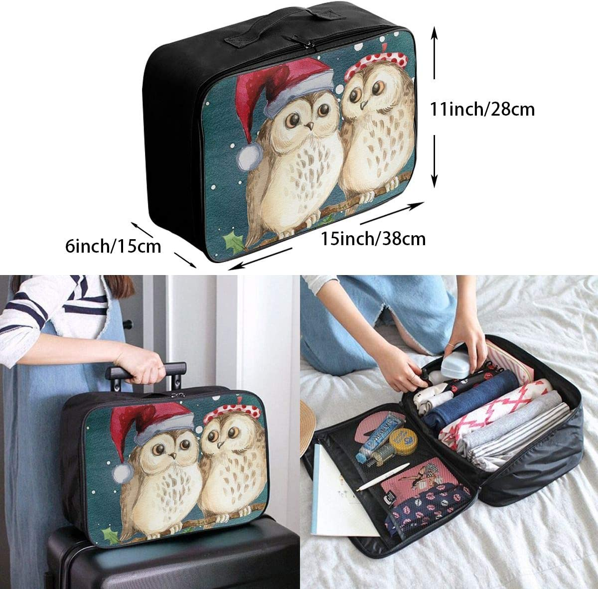 Christmas Owl Lover Travel Carry-on Luggage Weekender Bag Overnight Tote Flight Duffel In Trolley Handle