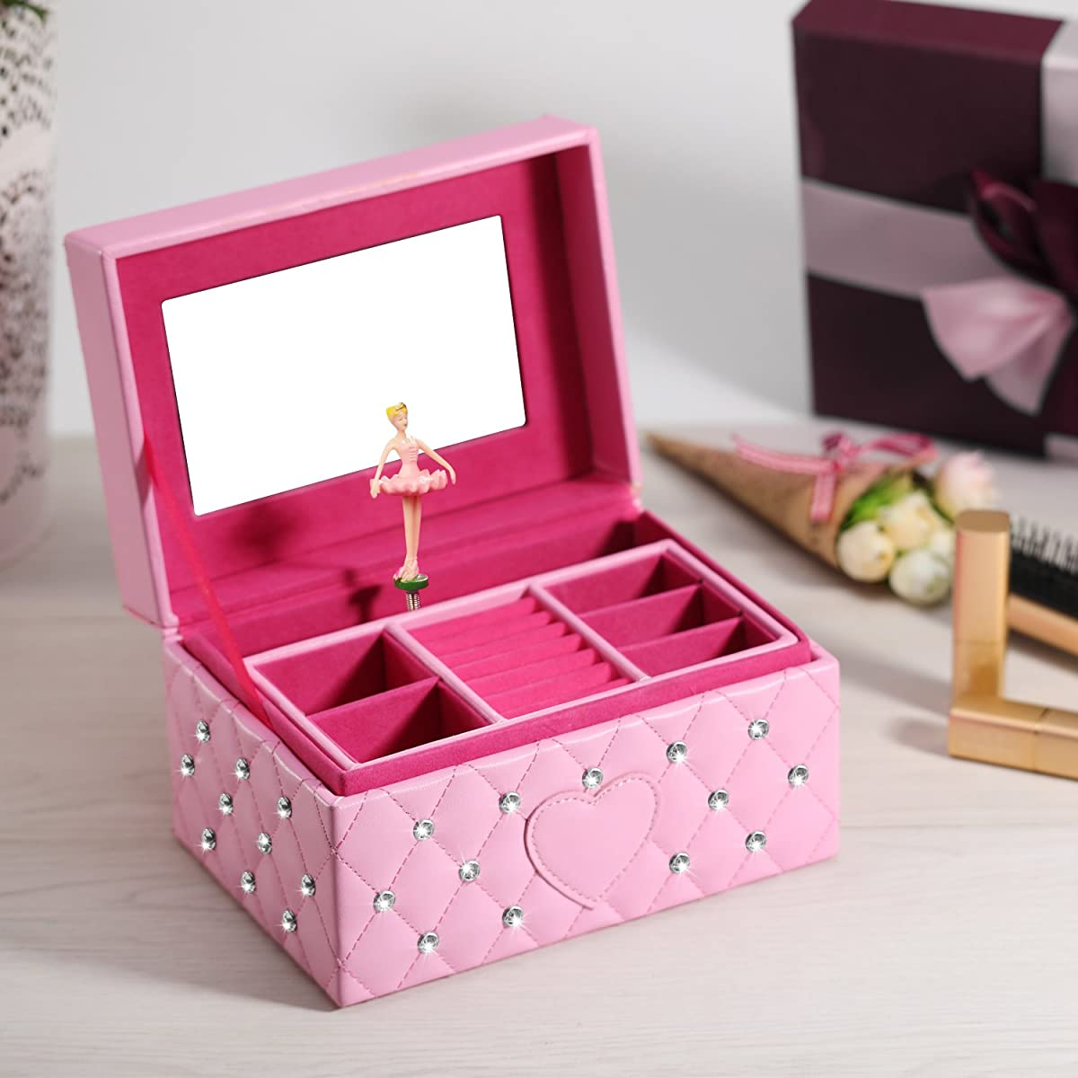 SMONET Musical Jewelry Box Ballerina Girls Jewel Storage Case Pink For Elise