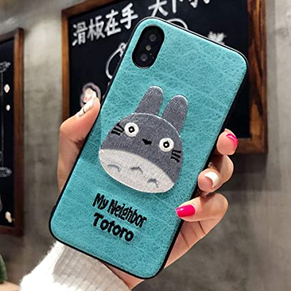 BONTOUJOUR iPhone 7 Plus/iPhone 8 Plus Case, Lovely Embroidery My Neighbor Totoro Pattern TPU Case 360 Degree Full Body Strong Protection Girls Case ...