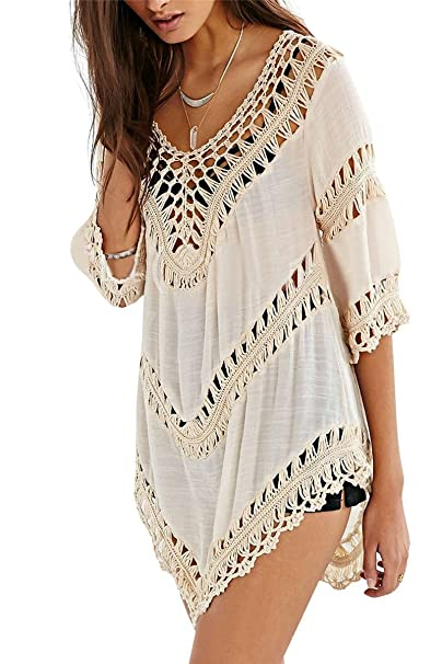 13377deee6e7 Preferhouse Women's Crochet Swimsuit Cover Up Beach Shirt Long ...