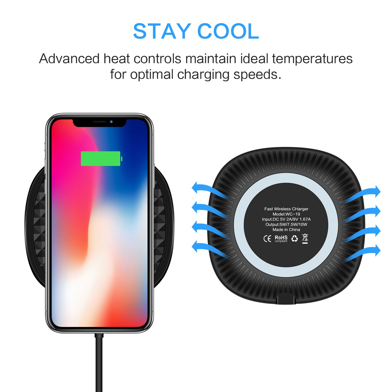 Amazon.com: Wireless Charger, Gonected 7.5W Wireless Charger for iPhone X/8/8 Plus,10W Fast Wireless Charging for Samsung Galaxy Note 8/ S8/S8 Plus, ...