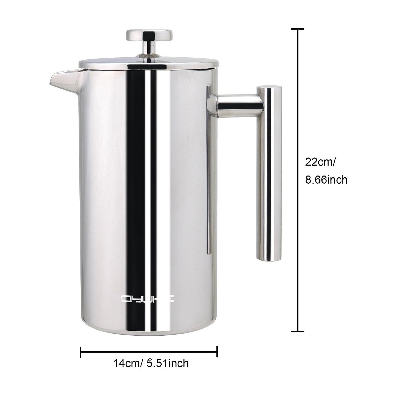 Qyuhe® Prensa francesa para café con doble pared de acero inoxidable, cafetera de expreso y tetera, para 8 tazas (1 litro): Amazon.es: Hogar