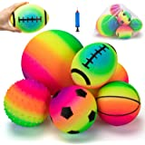 beetoy 6 Pcs Inflatable Sport Toddler Rainbow Balls Set with Pump for Toddler, Includes Football, Basketball, Volleyball, Bas