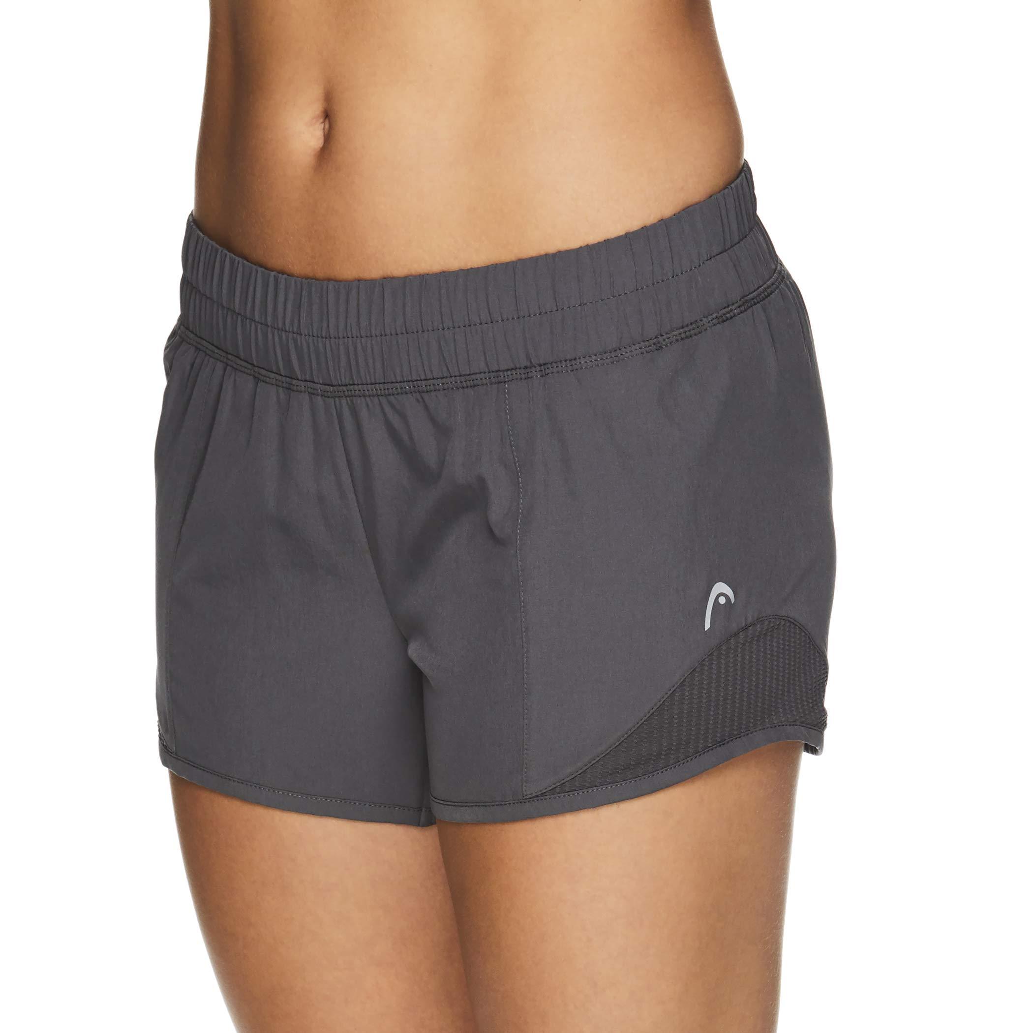 HEAD Women's Athletic Workout Shorts - Polyester Gym Training & Running Short - Partner Medium Grey, X-Small