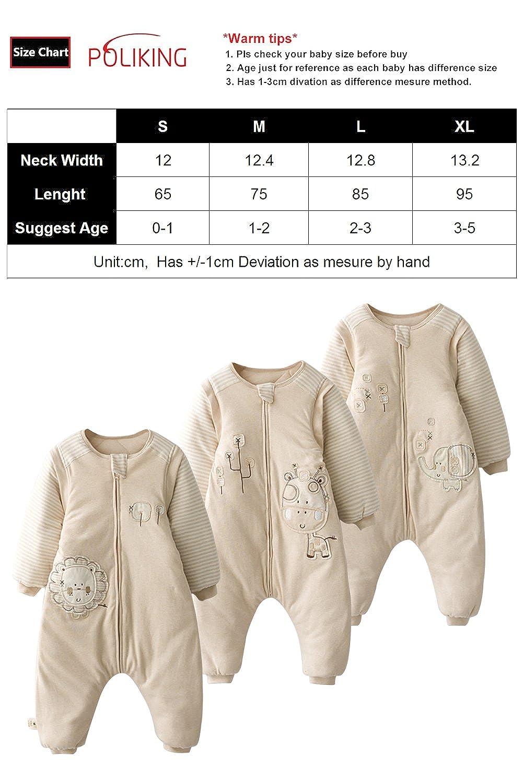 Poliking Infant and Toddler Unisex Baby Thicker Winter Organic Cotton Leg Split Sleepwear Zipper Sleeping Bag
