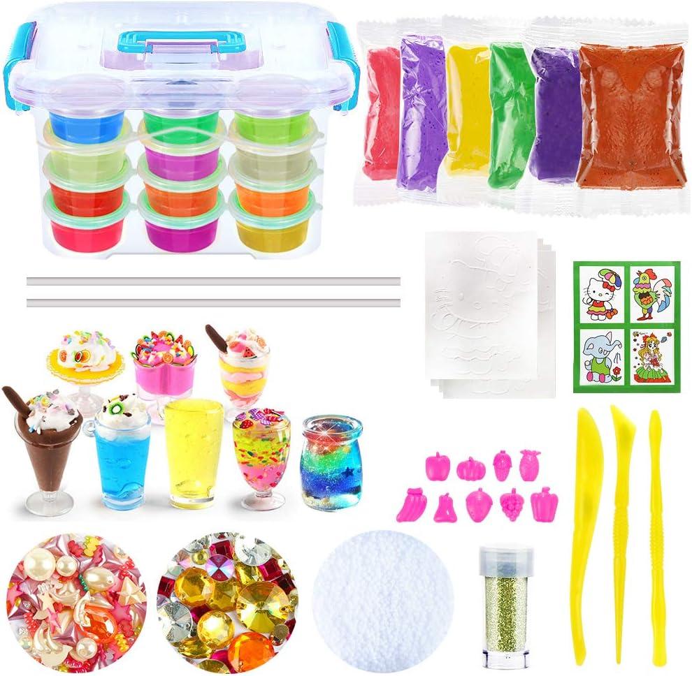 DIY Slime Kit, Slime DIY Toy para niños con 12 colores de barro de arcilla de cristal, 8 mini tazones de helado, 9 moldes de frutas, no tóxico Crystal Mud Plasticine Kids Toy