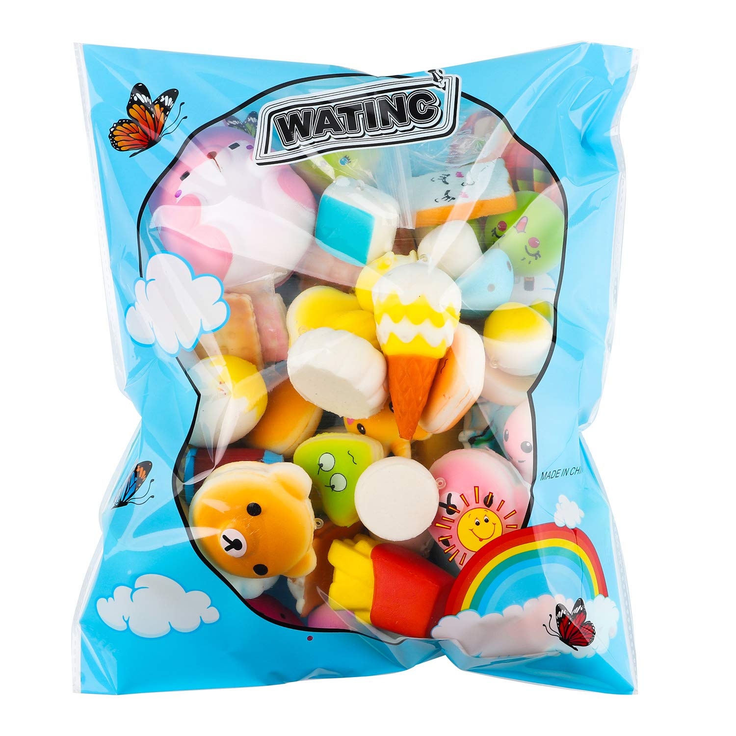 WATINC Random 70 Pcs Squishies, Birthday Gifts for Kids Party Favors, Slow Rising Simulation Bread Squishies Stress Relief Toys Goodie Bags Egg Filler, Keychain Phone Straps, 1 Jumbo Squishies include by WATINC (Image #7)