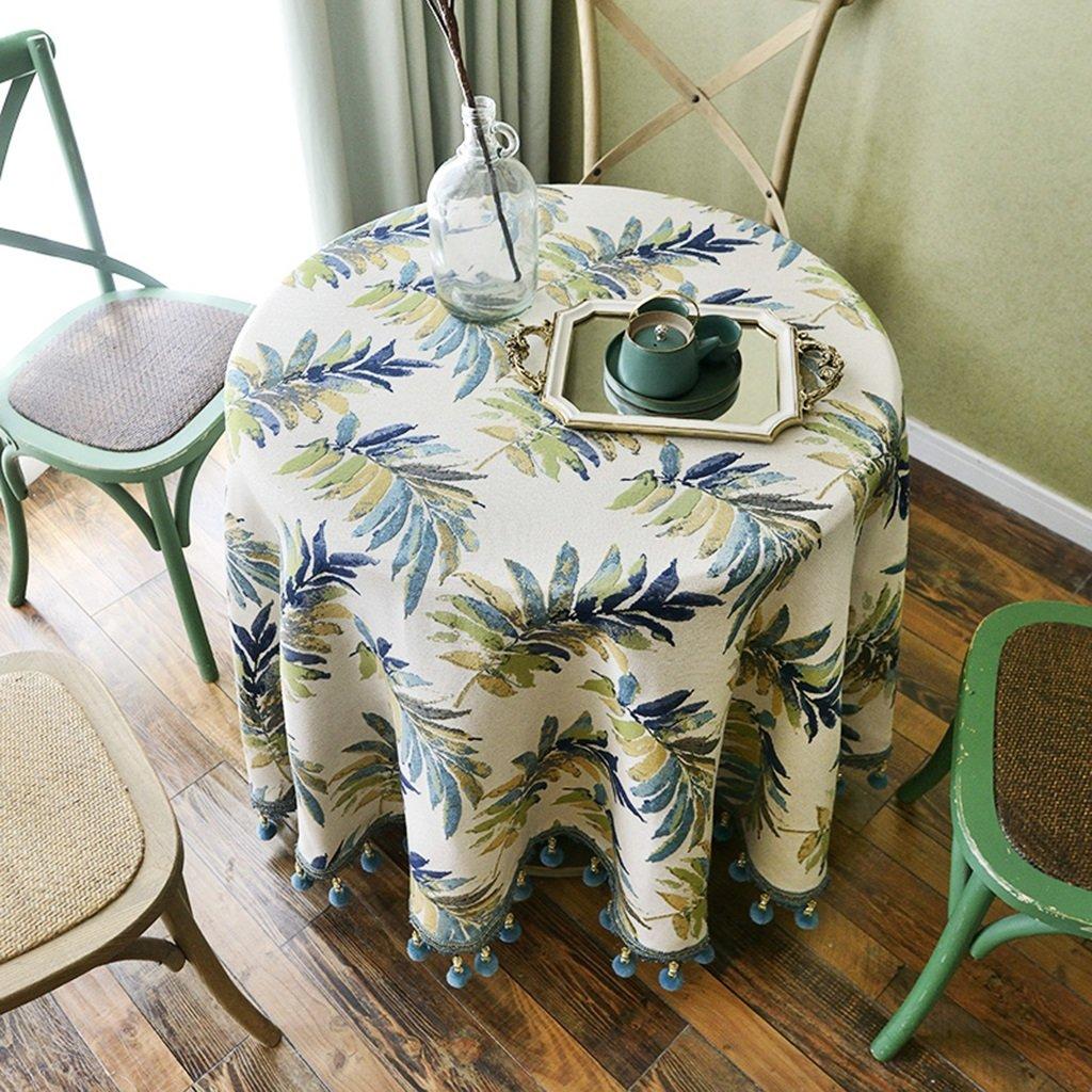 130180cm QINGTAOSHOP Blaues Pflanzenmuster Plus hängende Spitzetischdecke Baumwollleinentischdecke runde Tischdecke des amerikanischen Landhausstils des Hotels Hauptspeisetischdecke (Größe   130  180cm)