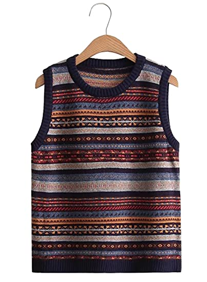 Futurino Womens Vintage Stripy Partten Knitted Pullover Sweater