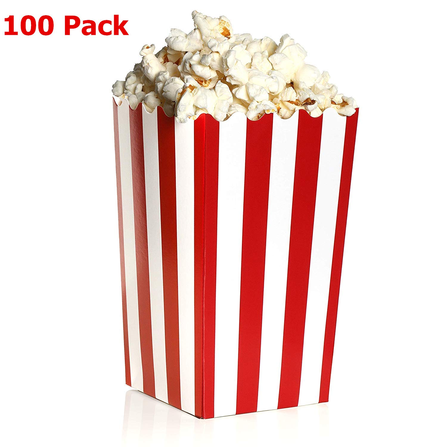 100 Pack Popcorn Favor Boxes, Mini Popcorn Containers, Paper Popcorn Party Supplies for Movie Nights, Carnival Parties, Red and White