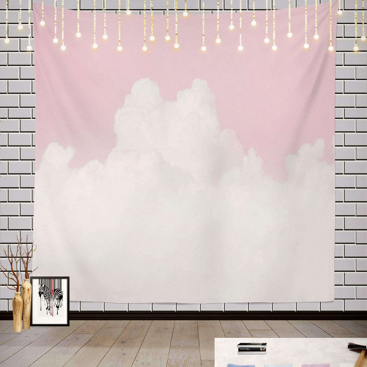 Batmerry Sky Pink Pastel Tapestry, White with Pastel Pink and Blue Love Picnic Mat Hippie Trippy Tapestry Wall Art Meditation Decor for Bedroom Living Room Dorm, 59.1 x 59.1 Inches, Soft Pink