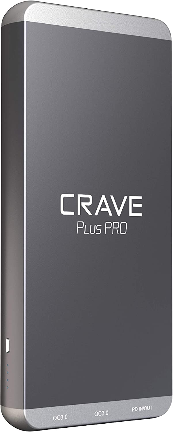 PD Power Bank, Crave Plus PRO Aluminum Portable Charger with 20000mAh [Quick Charge QC3.0 Dual Ports + Power Delivery PD Type C 45W] External Battery Pack for MacBook, iPhone, Samsung and More