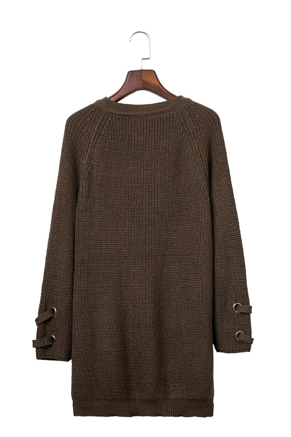 Rayley Women's Long Sleeve Lace Up V-Neck Knit Pullover Sweater Dress Top