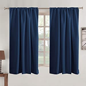 Navy Blackout Curtains Kids' Room Blackout Drapes Rod Pocket Tab Curtains Light Block Energy Efficient Thermal Insulated Window Treatments Draperies 2 Panel, 52 Width by 63 Length - Navy