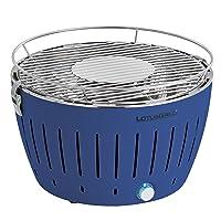 Grill Lotusgrill Serie 340 blau klein Edelstahl Stahl Kunststoff BBQ Camping Balkon Picknick ✔ rund ✔ tragbar rauchfrei ✔ Grillen mit Holzkohle ✔ für den Tisch