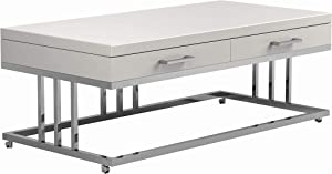 Coaster Home Furnishings 2-Drawer Rectangular Glossy White and Chrome Coffee Table