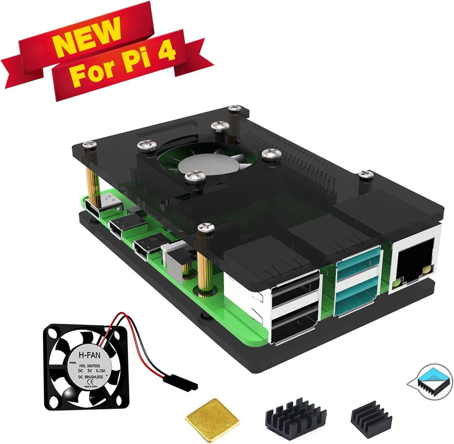 Jun-Electron Acrylic Case for Raspberry Pi 4 Model B with Cooling Fan,3 Heatsinks (Gray)