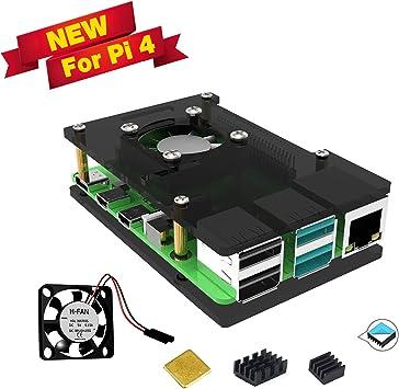 Jun_Electronic para Raspberry Pi 4 Model B Caja Acrílico con ...