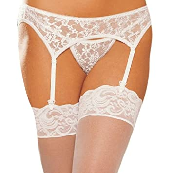fec3872f62d Amazon.com  Sealike Sexy Lace Stockings with Garter Belt G-string ...