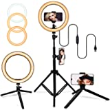 """10"""" Selfie Ring Light with Adjustable Tripod Stand, 3 Modes 10 Brightness Levels with 120 LED Bulbs 5500K, LED Ring Light wit"""