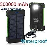 US Stock Waterproof 500000mAh Dual USB Portable Solar Battery Charger Solar Power Bank