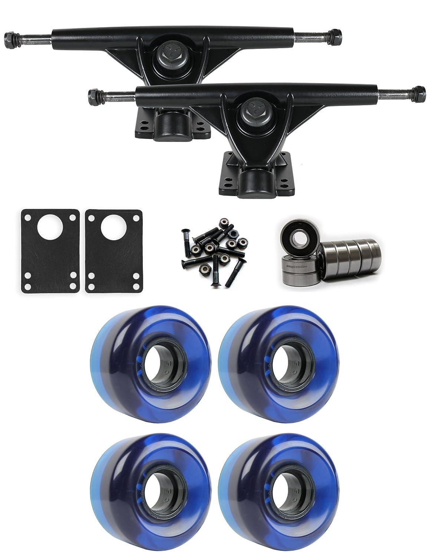 RKPブラックLongboardトラックホイールパッケージ58 mm x 36 mm 83 a 300 Cブルークリア   B01IJ8FF4K