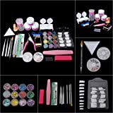 Acrylic Nail Art Kit with 12 Colors Shinny Glitter Powder, Professional Nail Art Decoration Tools Manicure Set with 100…