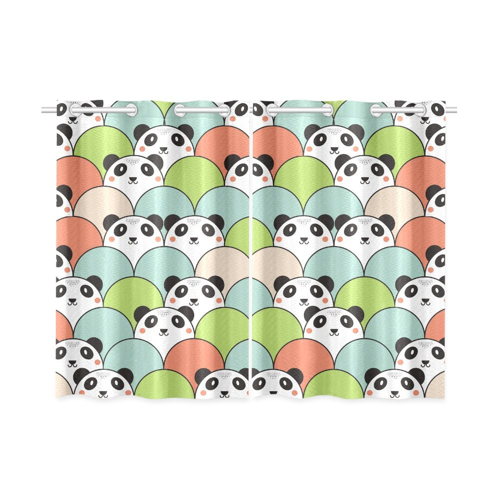 your-fantasia Animal Cartoon Pandas Window Curtain Kitchen Curtain Two Pieces 26 x 39 inches