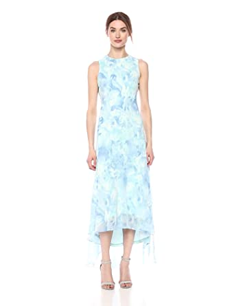 d4e4b43db341 Calvin Klein Women's Chiffon Printed High Low Maxi Dress, Serene Multi 4