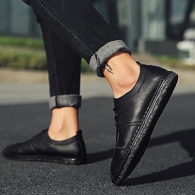 Zapatos de Cuero Vestir Mocasines Zapatos de Hombre Clásico Oxford Zapatos Formales Cómodo Negro 44: Amazon.es: Zapatos y complementos